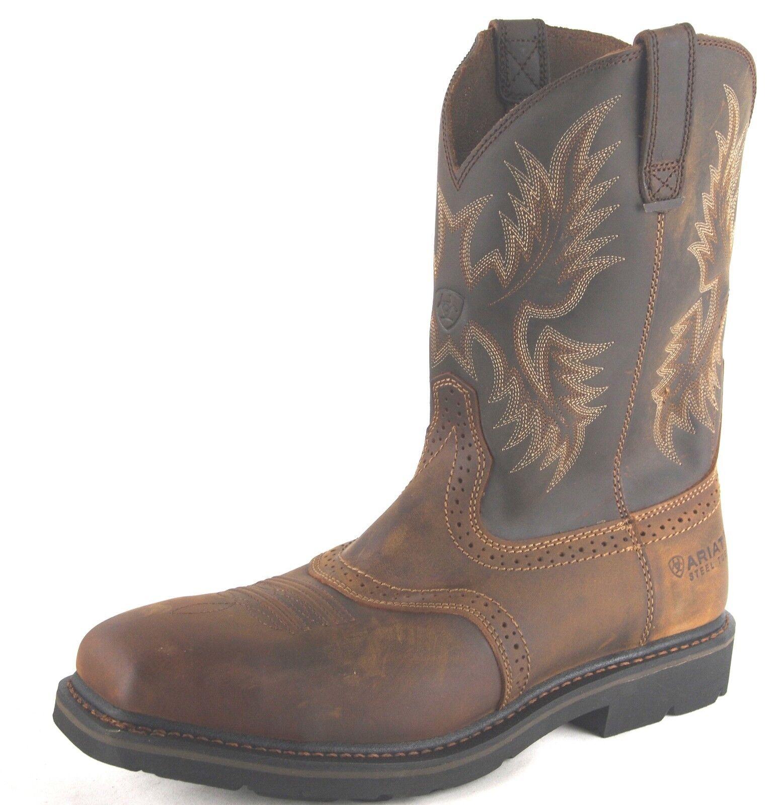 Ariat Mens Sierra Square Toe Steel Toe Safety Work Western bottes 10010134