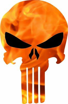 Punisher Skull Decal Orange Fire Black Eye Nose Punisher