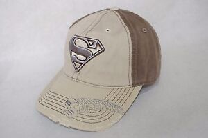 New-DC-Comics-Superman-Worn-Look-Khaki-Brown-Curved-Bill-Adjustable-Hat-Cap-OSFM
