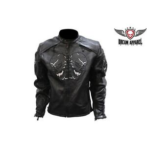Men's Leather Motorcycle Jacket With Reflective Skulls
