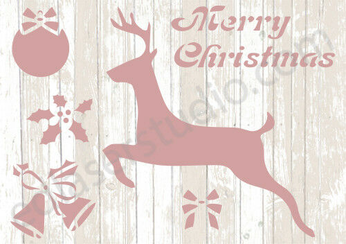 Bauble Reindeer Holly Christmas Stencil Vintage Card making Paint Crafts CH12