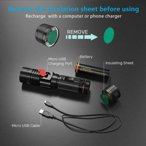 Details about  /10000LM Flashlight USB Rechargeable Magnetic Cob Sidelight Waterproof Zoomable