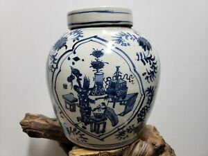Chinese Old Blue and White Porcelain Ginger Jar With Lid(Kylin)