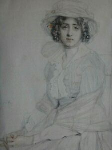 Ravissant-dessin-elegante-signe-miniature-Old-fine-drawing-lady-signed