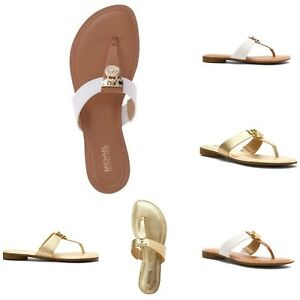NEW-MICHAEL-KORS-HAMILTON-LOCK-THONG-FLATS-SANDAL-VARIOUS-COLORS-SIZE-6-8-5