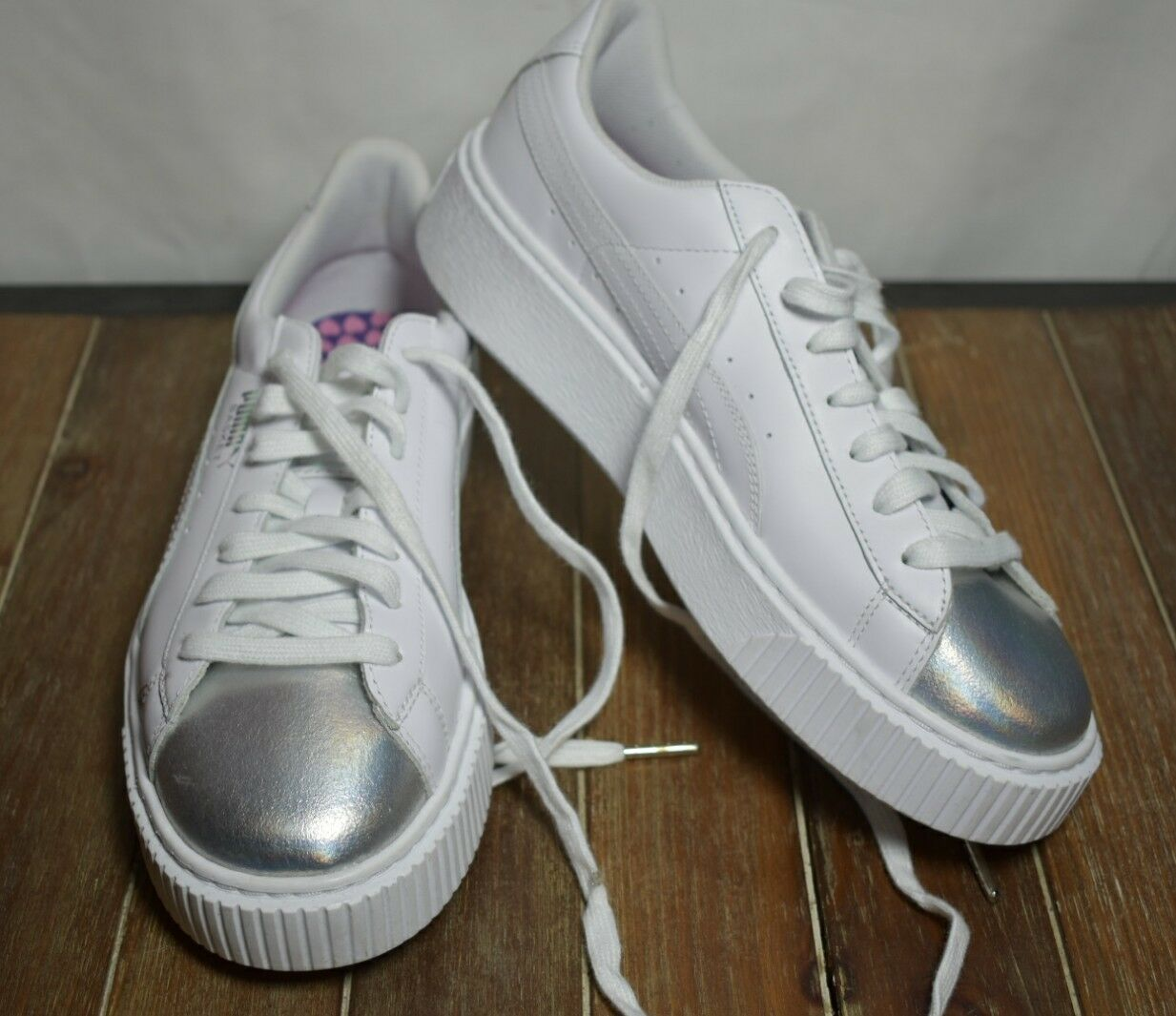 Puma Basket Platform Metallic Womens White Leather Lace Lace Lace Up Sneakers shoes b59ea9