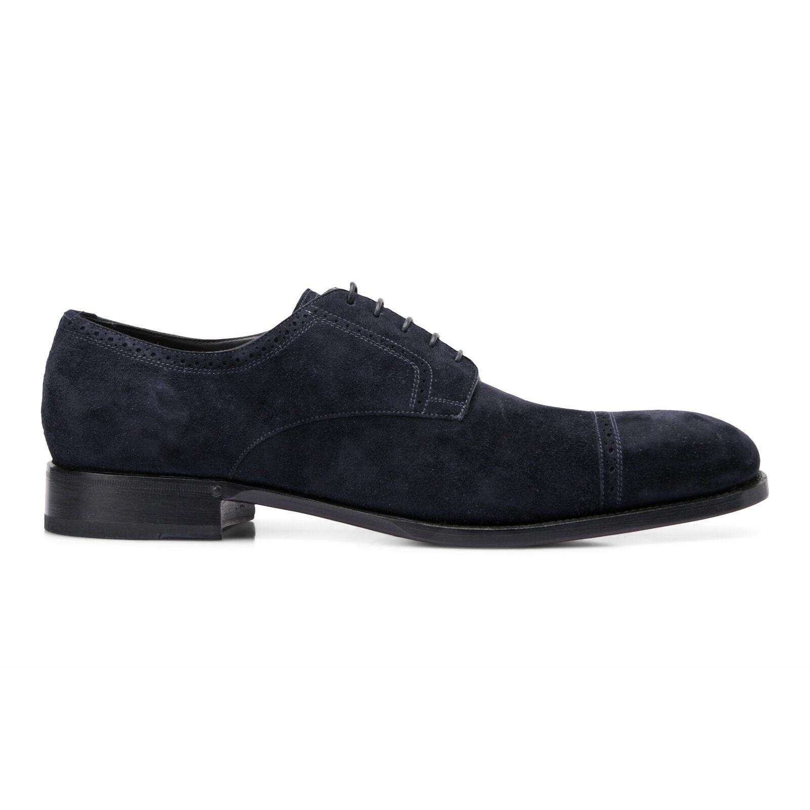 Brioni Hombre ante blue Marino Zapato de Vestir Eu 42 Eu 9 Nuevo