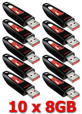 LOT 10x SanDisk 8GB Cruzer ULTRA 8 GB Flash Pen Drive SDCZ45-008G USB 8G 10 x