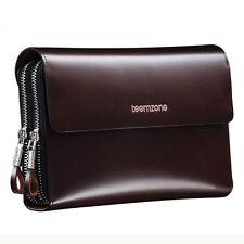 Teemzone Mens Stylish Genuine Leather Expanding Clutch Zipper Wallet (Coffee)