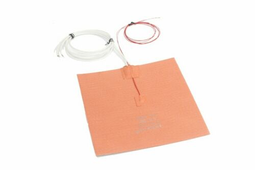 """8/"""" X 8/"""" 200 X 200mm w 3M Thermister JSRGO 3D Printer HeatBed Silicone Heater Pad"""