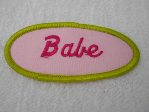 BABE USED EMBROIDERED VINTAGE SEW ON NAME PATCH TAG OVAL OLIVE WITH PINK ON PINK