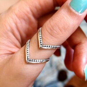 Chevron Thumb Ring Boho-Magic 925 Sterling Silver Boho Rings for Women Adjustable