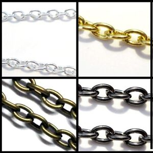 A5462 k2-accessories 2 meters Bronze Plated Flat Crossed Chain 3x4mmx0.7mm
