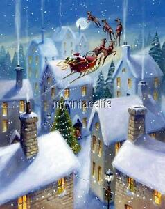 Details about santa claus flying over roof tops quilting fabric block