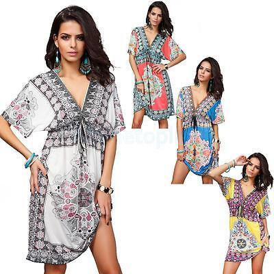 Women's Sexy V Neck BOHO Beach Cover-up Dress Fashion Ice Silk Summer Sundress