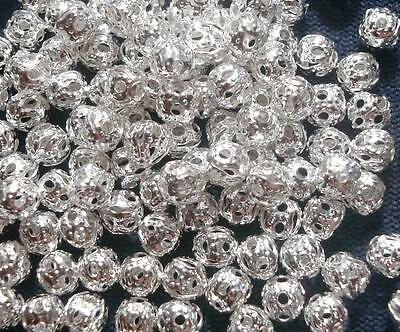 100 Sterling silver plated 4mm round filigree spacer filler jewelry beads fpb015