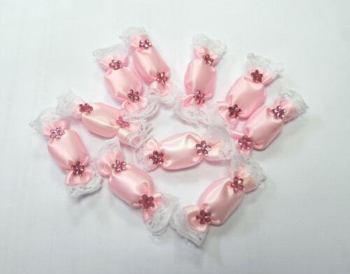 10 Deko-Bonbon Satin rosa Taufe