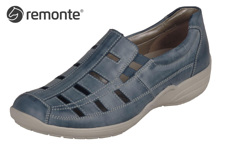 Remonte Damen Schuhe Slipper Blau Leder Einlage Komfortweite R7601-14 NEU lose Einlage Leder a2b8c0