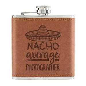 Nacho-Moyenne-Photographe-170ml-Cuir-PU-Hip-Flasque-Fauve-Worlds-Best-Drole