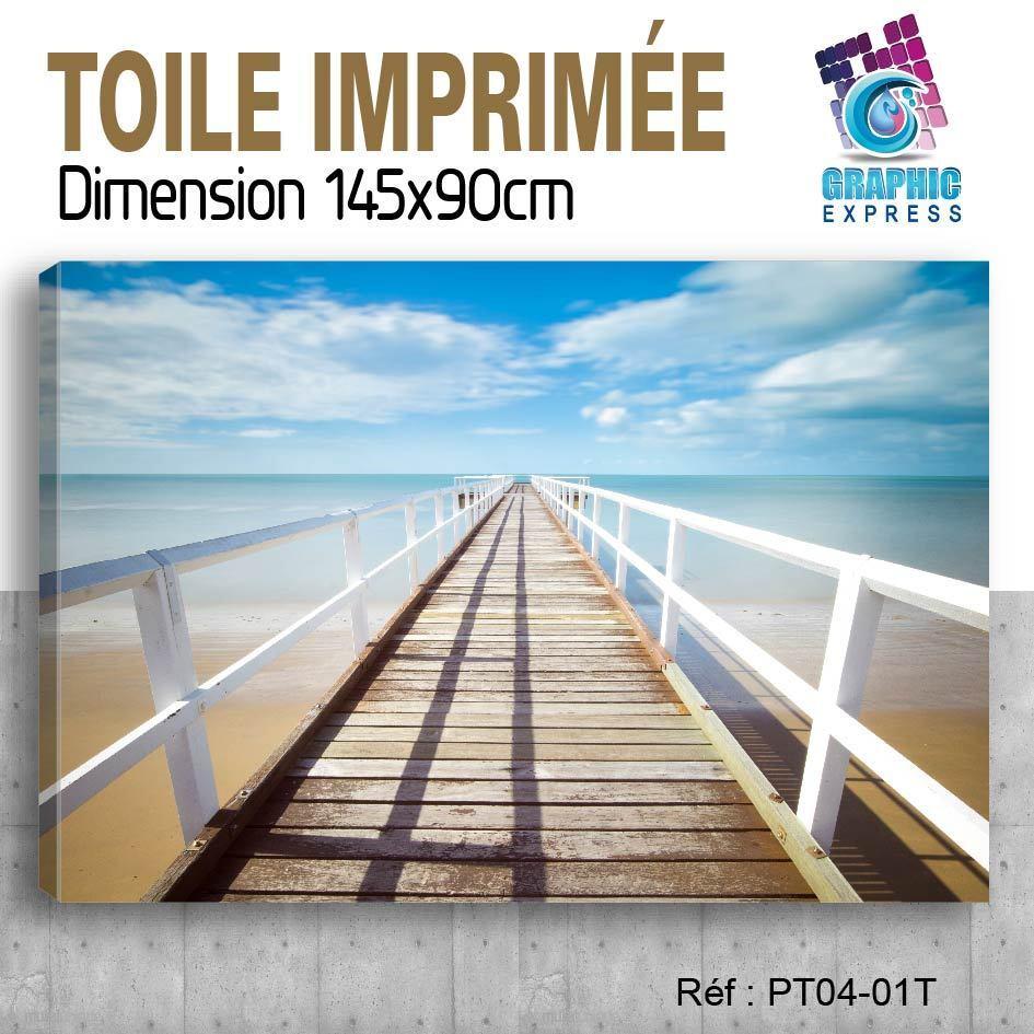 145x90cm -TOILE IMPRIMéE TABLEAU POSTER DECO - PONTON MER OCEAN - PT04-01T