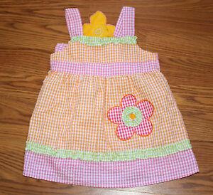 Baby-Girl-Pink-Orange-Green-Gingham-flower-2B-Real-Spring-Dress-2T