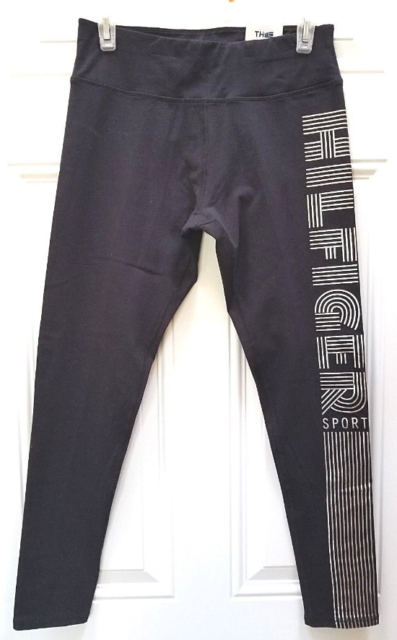 0e302d28adcccf Tommy Hilfiger Womens Black Metallic Logo Active Athletic Leggings S BHFO  3487