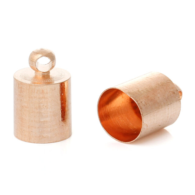 20 x ROSE GOLD Plated Cylinder End Caps + Loop Kumihimo/Cord/Leather fits 6.5mm
