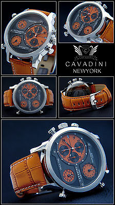 LUXUS TRIPEL TIME  -CAVADINI CHRONOGRAPH UHR  SERIE NEW YORK  IN ORRANG  NEU