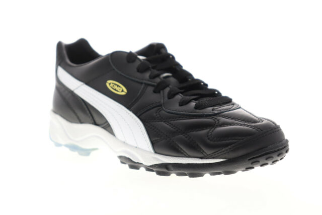Puma King Allround TT 17011901 Mens Black Leather Lace Up Athletic Soccer Shoes