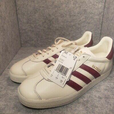 *New* Mens Adidas Gazelle Off White Burgundy Gold CG7155 Size 7.5 Rare Size | eBay