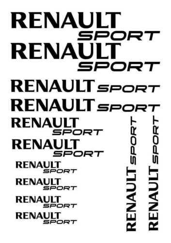 Kit de 12 Sticker Autocollant Noir Renault Sport Qualité Premium ESPACE