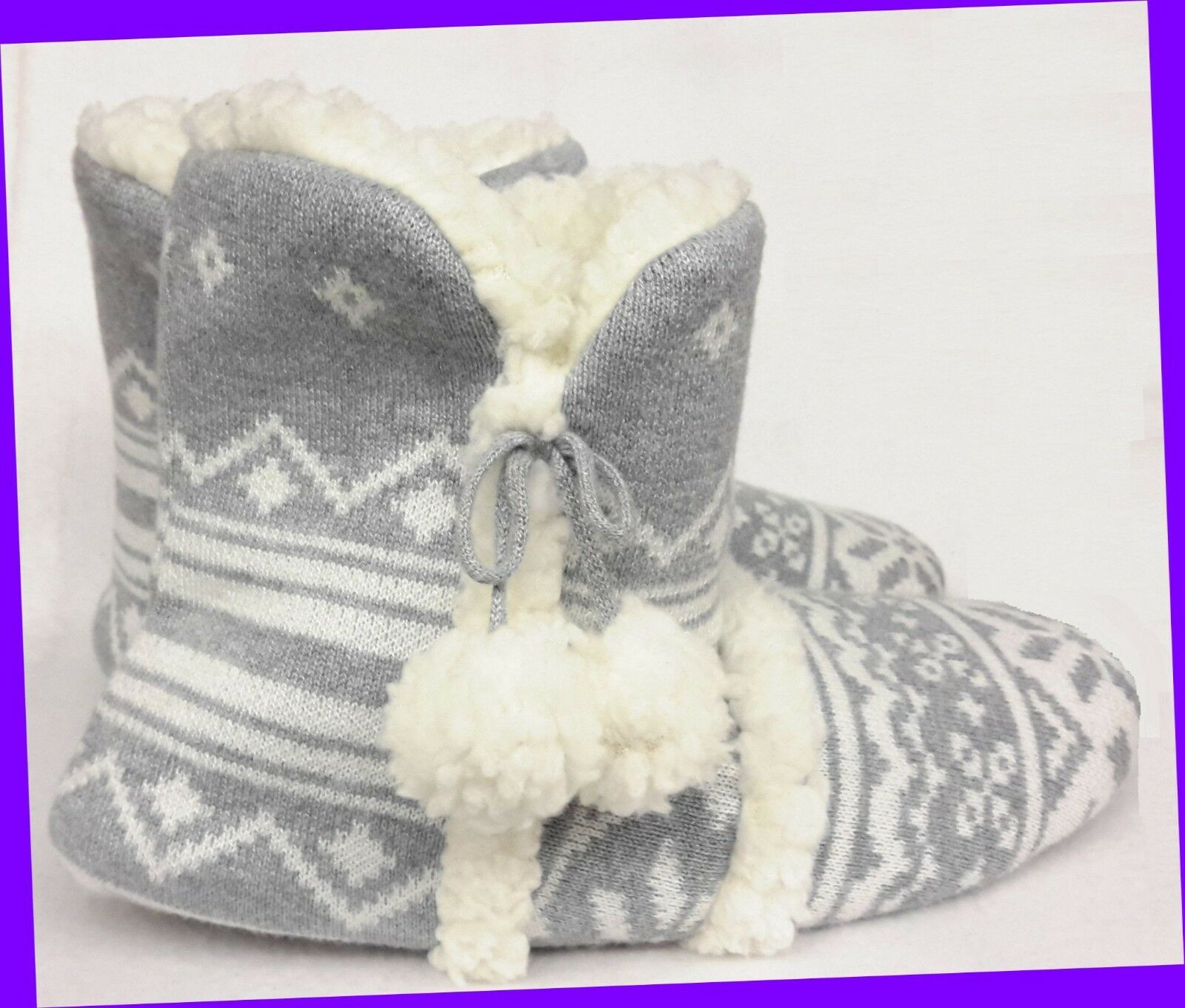 Victoria's Secret Plush Sherpa GREY FAIR ISLE Booties Slippers SIZE LARGE 9-10