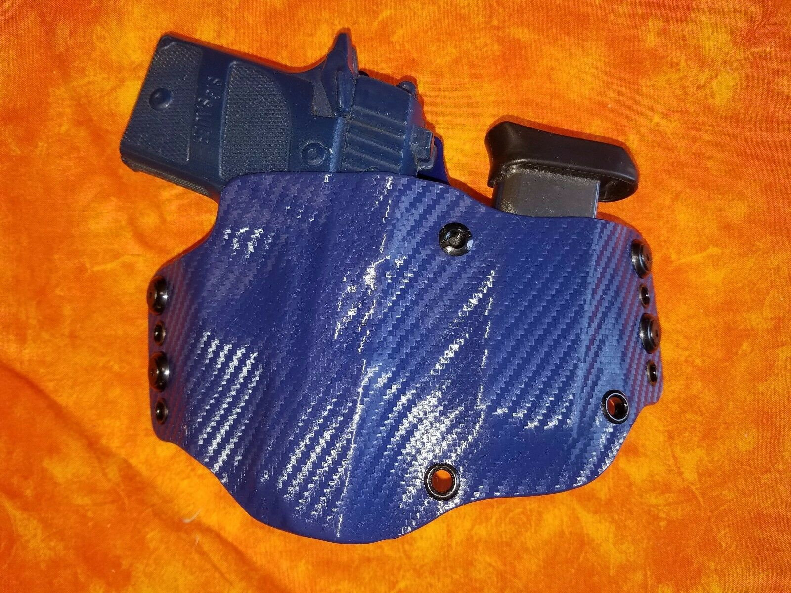 LOOK    SUPER SUPER  NICE Blau CARBON KYDEX HOLSTER WITH BUILT IN MAG TRULY HAND FITTED 0ee114