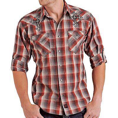 Panhandle Slim Men/'s Navy /& Brown Geometric Print Snap Up Shirt R0X7584 R0S7584