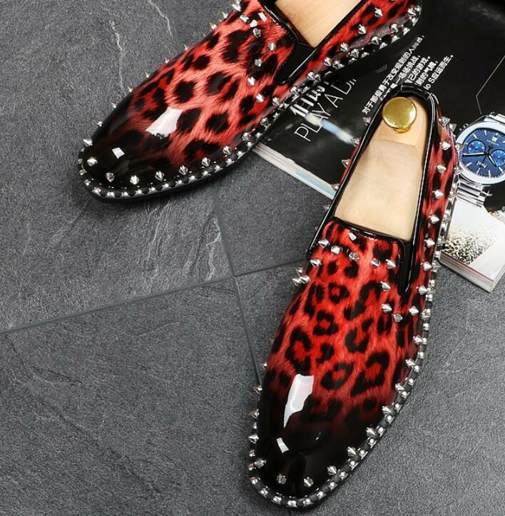Mens Patent Leather Leopard Party Slip On Loafers Metal Rivet Casual Club shoes
