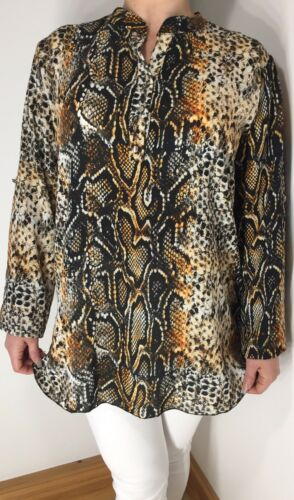 NEW Snake Print Tunic Top 3//4 Sleeves Soft Non Crease Long Oversized One Size