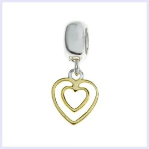 3f0e10d7f Image is loading Sterling-Silver-Double-Gold-Heart-Love-Dangle-Bead-