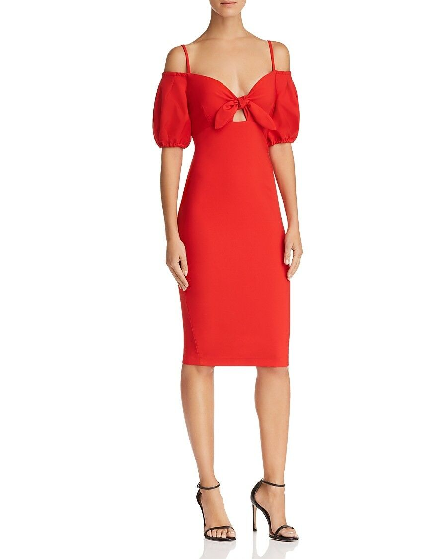 450 NOOKIE WOMEN'S RED RED RED SWEETHEART COLD SHOULDER KNOT FRONT PARTY DRESS SIZE S 79cbbc