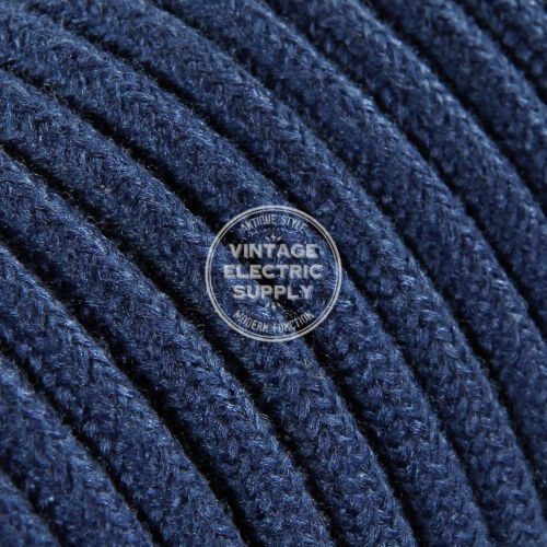 Denim Round Raw Yarn Cloth Covered Electrical Wire Braided Yarn Fabric Wire