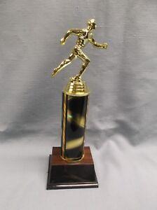 femaleTRACK trophy award black grey and gold star trim