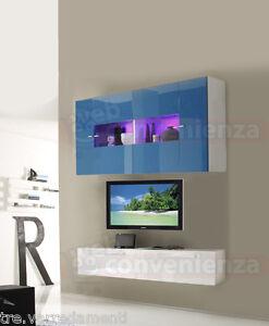 Parete Attrezzata da Soggiorno Moderna Porta TV Sospeso 10 Colori ...