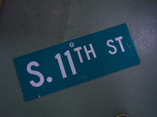 "Vintage ORIGINAL S 11TH ST STREET SIGN 24/"" X 9/"" WHITE ON GREEN BACKGROUND"