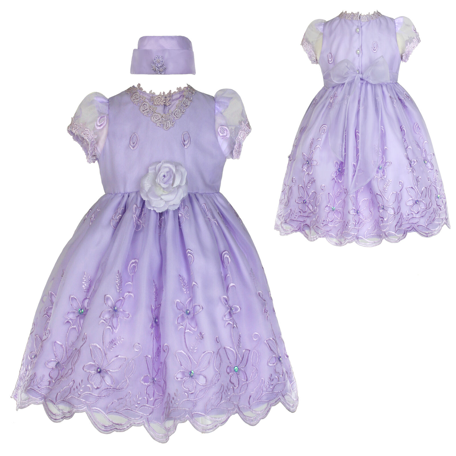 New Infant Girl & Toddler Easter Wedding Formal Party Dress size: S,M,L,XL Lilac