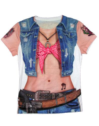 Cowgirl Bedruckt Damen Erwachsene Country Western Halloween Kostüm T-Shirt