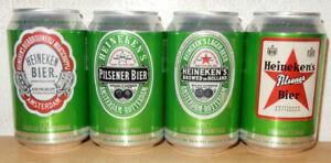 HEINEKEN Vintage Labels 4 Beer cans set from SPAIN (33cl)  Empty !!