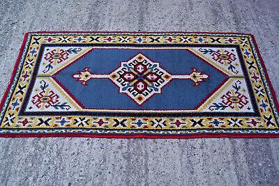 60er Kelim Teppich Handgeknüft Carpet Rug Shag (92 X 178) Wolle Orient 70er 3 Fest In Der Struktur
