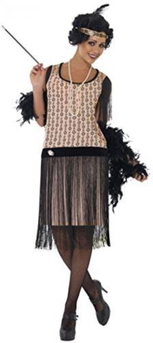 Peach//Black Smiffy/'s 1920s Coco Flapper Medium