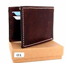 Genuine leather men's vintage wallet Bifold Card Holder slim small thin brown uk