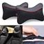 2pcs Black Soft Cotton Car Headrest Neck Pillow PU Leather Travel Accessories