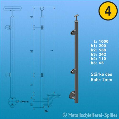 Neu Edelstahl U Glasgeländer Bausatz Balkon Terasse Geländer Handlauf vorgesetzt